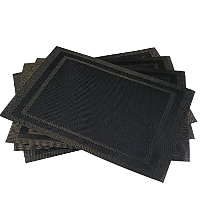 "Godten Placemats Set of 4 Dining Table Place mats, Woven Vinyl Anti-Skid Washable PVC Placemats for Kitchen Table Mats Easy to Clean, Rectangle Black - ★ Size: 30x45cm (18""X12""), Set of 4 / Package, Material: Healthy Environmentally Textilene (70% PVC+30% Polyester) ★ High Quality Ultra-Durable PVC, For Your Families and Designed to Last for Years with Daily Use ★ The Placemats is Wearproof , Washable, Non-Stain, Non-Fading, Not Mildew, Wipe Clean and Dries Very Quickly - placemats, kitchen-dining-room-table-linens, kitchen-dining-room - 51HtsFHBzLL. SS400  -"