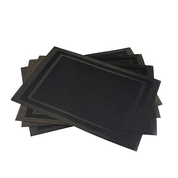 """Placemats - Set of 4 Placemats for Dining Table - Washable Non-slip Table Mats - Heat-resistant Woven Vinyl for Dining Banquet or Party Decoration - ★ Size: 30x45cm (18""""X12""""), Set of 4 / Package, Material: Healthy Environmentally Textilene (70% PVC+30% Polyester) ★ High Quality Ultra-Durable PVC, For Your Families and Designed to Last for Years with Daily Use ★ The Placemats is Wearproof , Washable, Non-Stain, Non-Fading, Not Mildew, Wipe Clean and Dries Very Quickly - placemats, kitchen-dining-room-table-linens, kitchen-dining-room - 51HtsFHBzLL. SS570  -"""