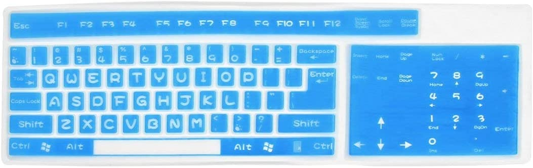 NA Blue Clear Letter Printed Silicone Keybord Film Protector for PC