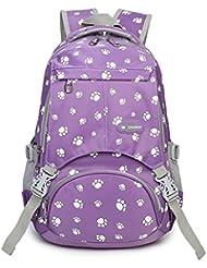 Fanci Large Capacity School Bag Dog Paw Prints Waterproof Shoulder Backpack for Girls