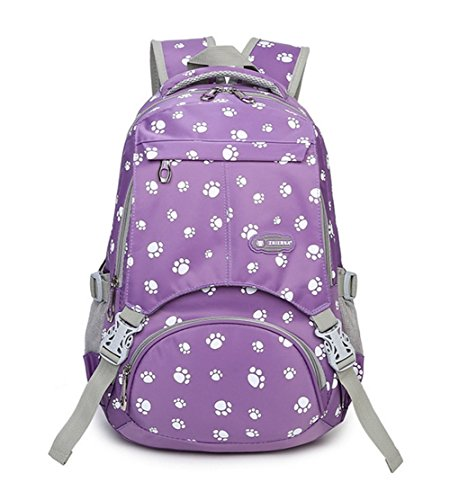 Fanci Lovely Dog Paw Prints Nylon Middle High Primary School Rucksack Backpack for Girls Elementary Bookbag