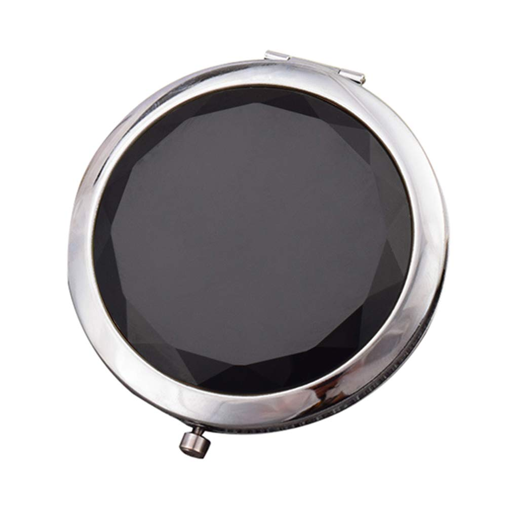 heaven2017 Travel Pocket Makeup Mirror Round Double Sided Mini Mirror Magnifying for Women Black