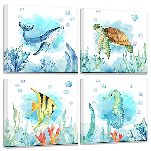 (Bathroom Decor Sea Turtle Whale Seahorse Fish Marine Life Watercolor Wall Pictures Modern Bedroom Decor Canvas Art Wall Decor Beach Theme Wall Decor 4 Pieces Framed Wall Art for Bedroom 14x14inch)
