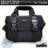 Deluxe Large Digital SLR Gadget Bag / Case for Canon EOS 5D Mark III, EOS-1D X, EOS 6D, EOS 7D, EOS 60D, EOS 70D, T5i, T5, T4i, SL1, T3i, T3, Canon EOS 7D Mark II DSLR Camera + Lens Pen Cleaning Kit +
