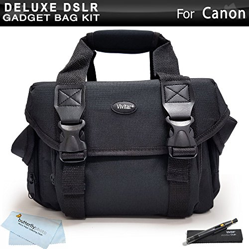 Deluxe Large Digital SLR Gadget Bag / Case for Canon EOS 5D Mark III, EOS-1D X, EOS 6D, EOS 7D, EOS 60D, EOS 70D, T5i, T5, T4i, SL1, T3i, T3, Canon EOS 7D Mark II DSLR Camera + Lens Pen Cleaning Kit + by Butterfly