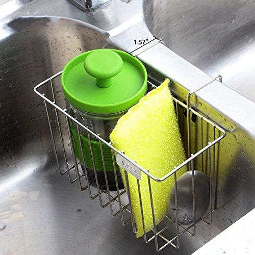 Sink Sponge Holder for Kitchen Sink Caddy with Dish Brush Stainless Steel Soap Organizer Tray, Dishwashing Liquid Drainer Utensil Holder