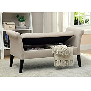 Furniture Of America Arronia Upholstered Storage Bench In Ivory