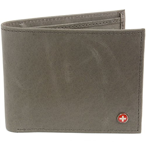 RFID SAFE Alpine Swiss Mens Deluxe Wallet Real Leather 14 Pocket ID Bifold Gray