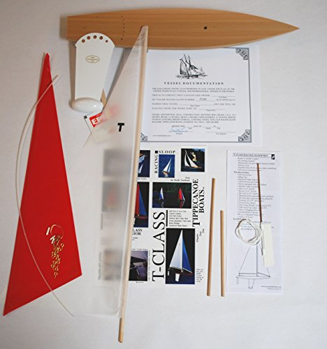 T Class Racing Sloop Kit (White/red)-Not a Radio Control, Sailing Model Sailboat, Toy Sailboats that sail, Model Sailboats that Sail, Toy Sailboat Wood, Toy Sailboat Wooden - It Really Sails! (Model White Sailboat)