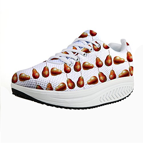 Shoes Walking DESIGNS U white Platform Woman FOR Sneakers Pear Fashion Slimming Wedge Swing zqtx5