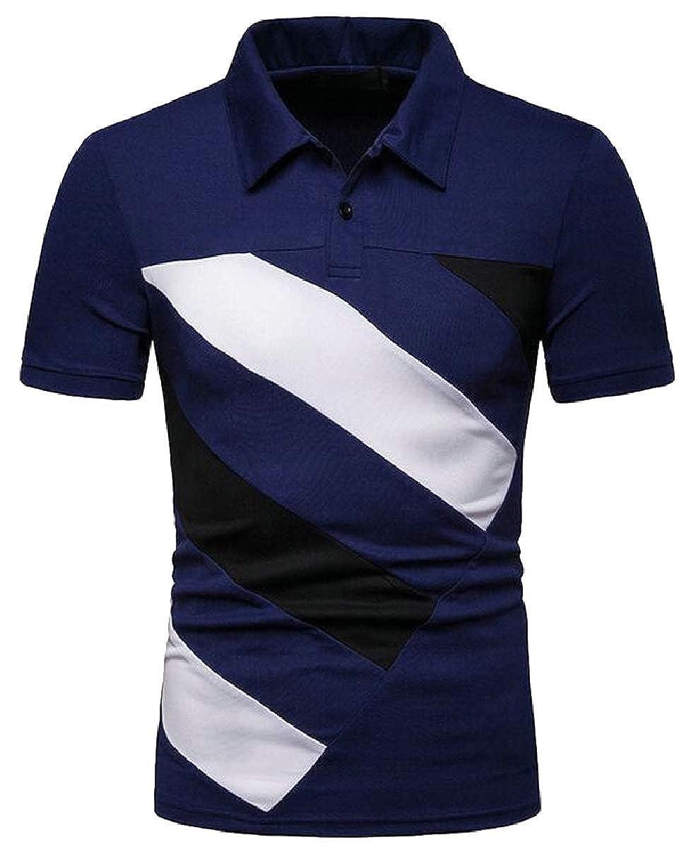 Xswsy XG Mens Polo Shirts Summer Short Sleeve Color Block T Shirt Top