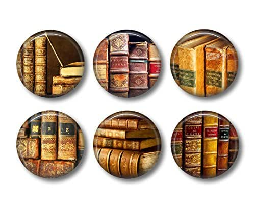 Book Lover Gift - Fridge Magnets - Old Book Magnets - 6 Magnets - 1.5 Inch Magnets - Kitchen Magnets - Vintage Book Magnets - Literary Gift - Love to Read