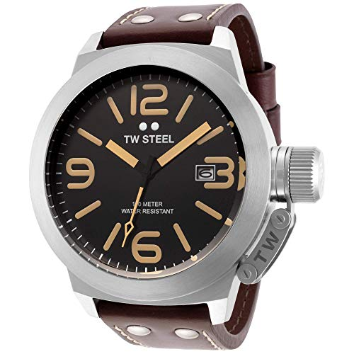 TW Steel Men s CS32 Stainless Steel Watch with Brown Leather Band