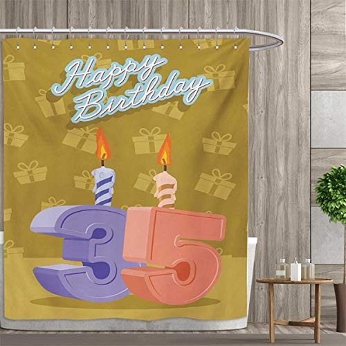 smallfly 35th Birthday Shower Curtains Mildew Resistant for sale  Delivered anywhere in Canada