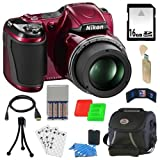 Nikon COOLPIX L820 16 MP Digital Camera with 30x Zoom (Red) + 4 AA Batteries withRapid Charger + 16GB Deluxe Accessory K