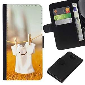All Phone Most Case / Oferta Especial Cáscara Funda de cuero Monedero Cubierta de proteccion Caso / Wallet Case for Samsung ALPHA G850 // Cute T Shirt Smiley