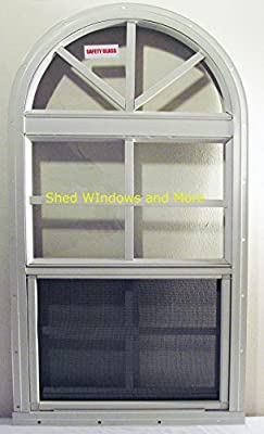 Arched Shed Playhouse Windows 14 X 28 White, Safety Glass Aluminum Frame
