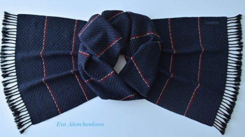 100% Cashmere Men's Blue Hand Woven Scarf by Eva Alenchenkova