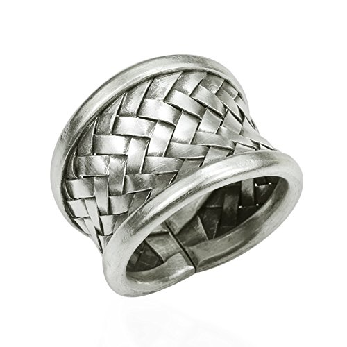(Handmade Woven Braided Weave Wide Front Design Silver Ring (8))