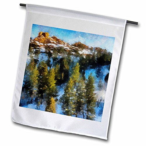 3dRose fl_38660_1 Colorado Mountains Pine Forest and Mountain Peak Garden Flag, 12 by 18 Inch (Designs Pine Mountain Pillow)