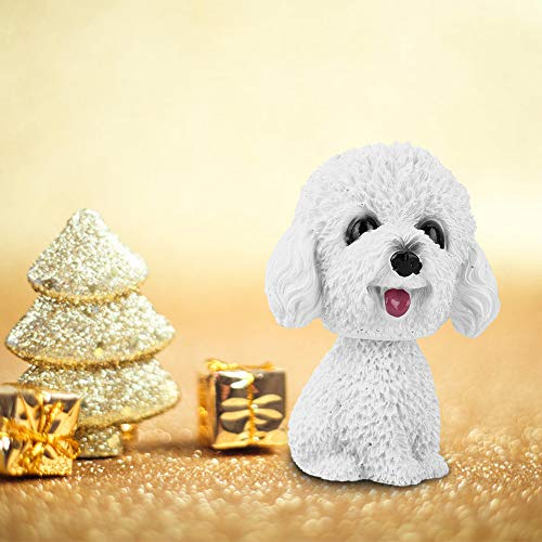 AUNMAS Teddy Dog Figurine Simulation Shaking Head Dog Decor Bobble-Head Toy for Car Interior Dashboard Ornament(White)