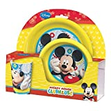 S&B Breakfast Set Mickey Mouse 1 Deep Plate, 1 Flat Plate, 1 Drinking Cup