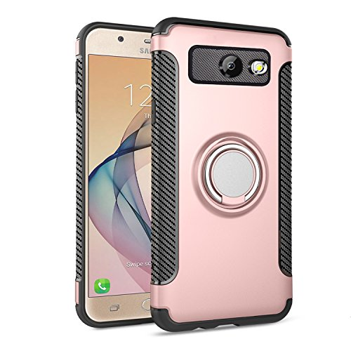 Galaxy J7 2017 Case,Ownest Armor Dual Layer 2 in 1 with Extreme Heavy Duty Protection and Finger Ring Holder Kickstand Fit Magnetic Car mount for Samsung Galaxy J7 V/J7 Sky Pro/J7 Perx-Rose Gold