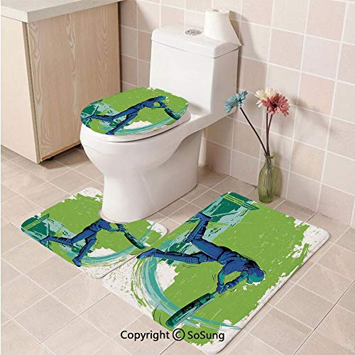 3pcs/Set Sports Style Soft Comfort Flannel Toilet Mat,Cricket Player Pitching Win Game Champion Team Paintbrush Effect,Plush Bathroom Decor Mat with Non Slip Backing,Navy Blue Turquoise Lime Green]()