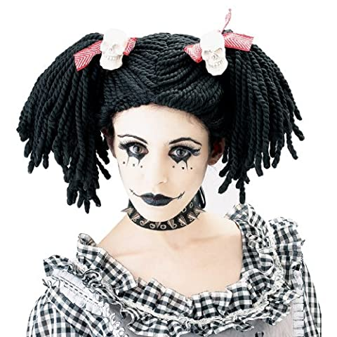 Paper Magic Women's Gothic Rag Doll Wig Costume, Black/Red, One Size