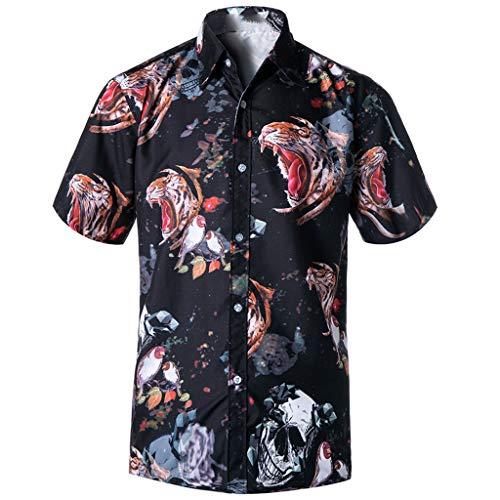 JJLIKER Men's Unisex Hawaiian Short Sleeve Shirt Aloha Floral Graphic Print Casual Button-Down Shirts Beach Party Holiday