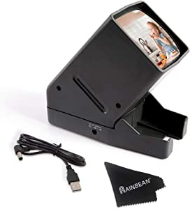 RAINBEAN USB Powered 35mm Negative Slide Film Viewer, Old Slides Scanner Portable LED Lighted Negative Viewing – 3X Magnification, Handheld Projector Suit for 2 × 2 Slides