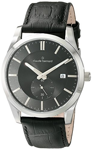 Claude Bernard Men's 65001 37J AID2 Classic Small Second Analog Display Swiss Quartz Black Watch