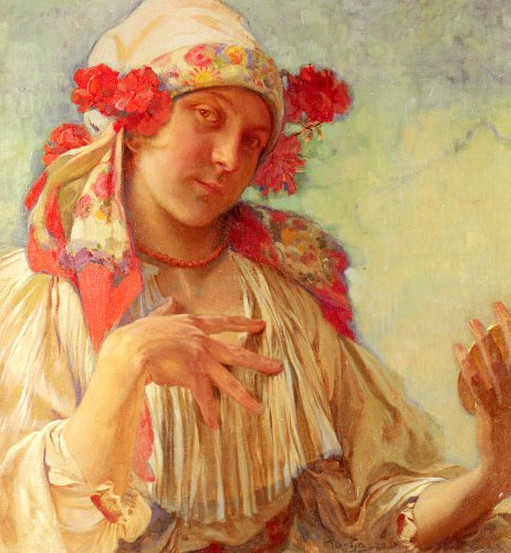 Mucha Alphonse Maria Young Girl In A Moravian Costume 100% Hand Painted Oil Paintings Reproductions 20X28 Inch -