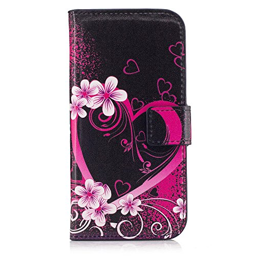 XYX Moto G Case,[Kickstand][Card Slots] Premium PU Leather Phone Wallet Case for Motorola Moto G (1st Gen) XT1032,Red Heart Flower (Moto X 1st Gen Case Flip)