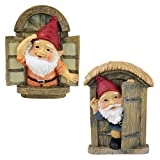 Design Toscano Knothole Welcome Gnomes Garden Tree Sculptures, 9 Inch, Door and Window Set of Two, Polyresin, Full Color