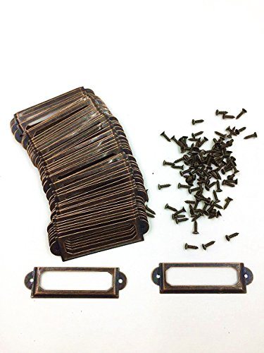 50 Pieces Card Holder Drawer Pull/label holders/Label Frames Card/Label Holder Modern Label Holders (6017mm, Copper)