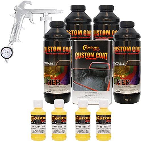 Custom Coat SAFETY YELLOW 4 Liter Urethane Spray-On Truck Bed Liner Kit with (FREE) Custom Coat Spray Gun with Regulator