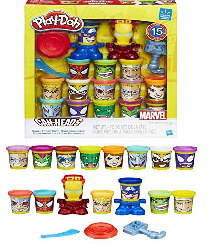 (EXCLUSIVE Play-Doh Marvel Super Smash-Up with Can-Heads - 15 Favorite Marvel Super Heroes and Villains Reimagined as Play-Doh)
