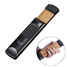 Bestmaple Portable Pocket Guitar Practice Tool Gadget Guitar Chord Trainer 6 Fret Black
