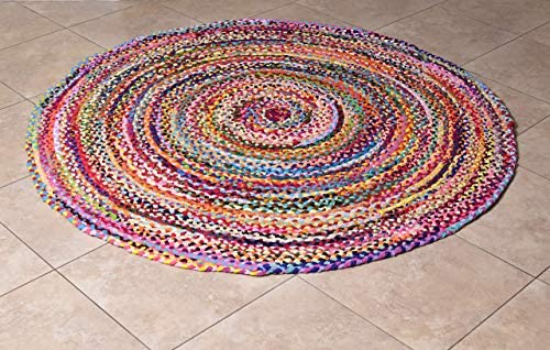 MystiqueDecors 6 ft Multicolor Round Area Rug for Living Room Braided Non-Slip Reversible Cotton Chindi Handwoven Rug 6
