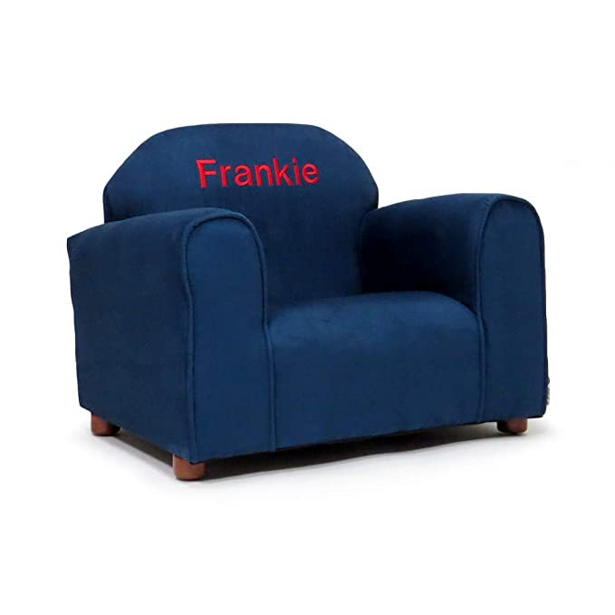 Upholstered Personalized Kids Chair Microfiber Suede (Navy)