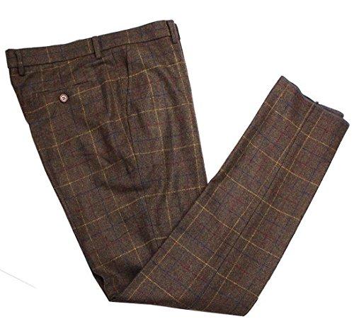 Mens Premium Wool Blend Tweed Herringbone Slim Fit Check Plaid Casual Suit Separate Pant Brown