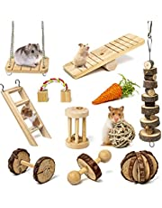 Sofier Hamster Chew Toys Set 11 Pack Natural Wooden Hamster Toys and Accessories Teeth Care Molar Toys for Guinea Pigs Syrian Hamster Rats Chinchillas Gerbils Hamster Swing Seesaw