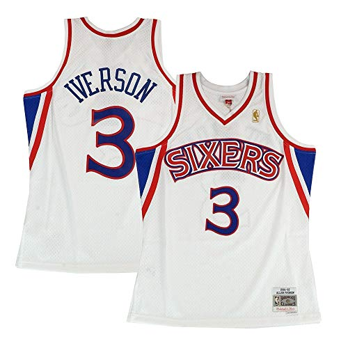 (Mitchell & Ness Philadelphia 76ers Allen Iverson 1996 Home Swingman Jersey (Medium))
