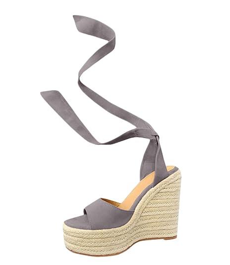 Minetom Mujer Sandalias Dulce Alpargatas Chancletas De Tacón Alto Plataforma Cuña Playa Zapatos de Verano Hebilla Espadrille Sandals: Amazon.es: Zapatos y ...