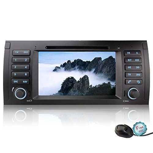 YINUO Android 4.4.4 7 inch 1024*600 HD Capacitive Touch Screen Single Din Car DVD Player GPS Stereo for BMW 5 E39 / BMW X5 E53 in Dash Navigation AV Receiver support AM FM Radio/iPhone Airplay Screen Mirroring/Steering Wheel Control/Bluetooth/3G Wifi Hotspots/OBD2/DVR/AV-IN with Free External Mic & 8GB Map Card