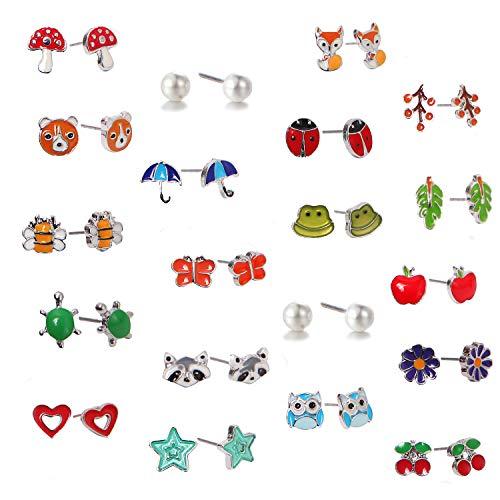 Aganippe 20 Pair Sets Cute Animals Hypoallergenic Nickel-free Stud Earrings Set For Kids Girl (Style-7)