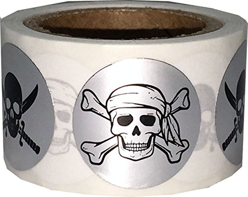 Pirate Stickers Skull and Crossbones Swords Metallic Silver