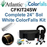 Atlantic Water Gardens CFKIT24SW Complete Sol White Colorfalls Lighted Falls Kit - 24'' Spillway, Basin, Pump, Hose & Fittings