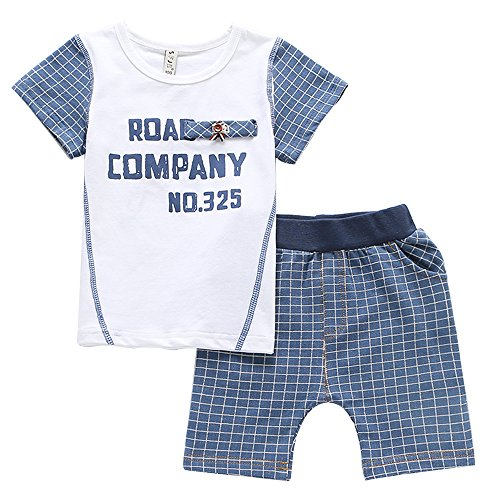 Cuteadoy Boy's 2 Smashed similar Outfit Set Sleeve Shirt and Shorts for 1 to 5 Years Olds Little Boy (120(4Years), White+Dark blue)